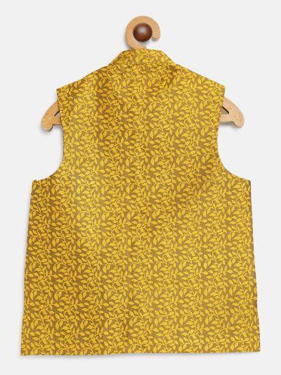 Sojanya (Since 1958), Kids Jacquard Silk Mustard Self design ONLY Nehrujacket