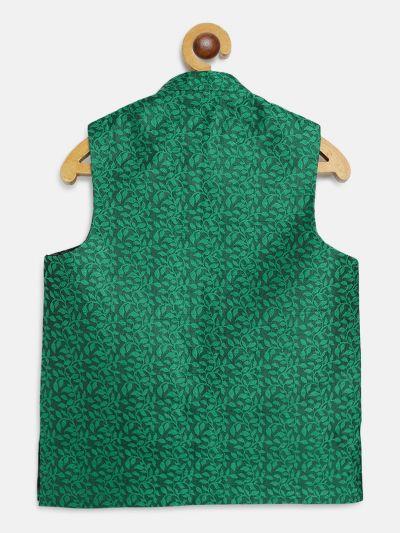 Sojanya (Since 1958), Kids Jacquard Silk Dark Green Self design ONLY Nehrujacket