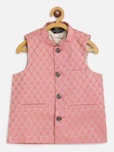 Sojanya (Since 1958), Kids Jacquard Silk Pink Self design ONLY Nehrujacket