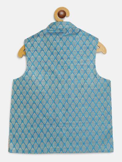 Sojanya (Since 1958), Kids Jacquard Silk Peacock Blue Self design ONLY Nehrujacket