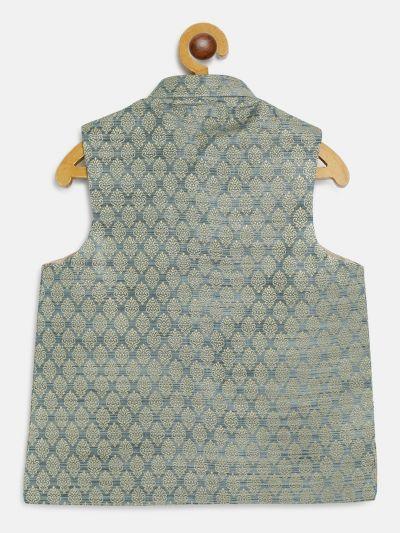 Sojanya (Since 1958), Kids Jacquard Silk Tea Blue Self design ONLY Nehrujacket