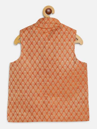 Sojanya (Since 1958), Kids Jacquard Silk Orange Self design ONLY Nehrujacket