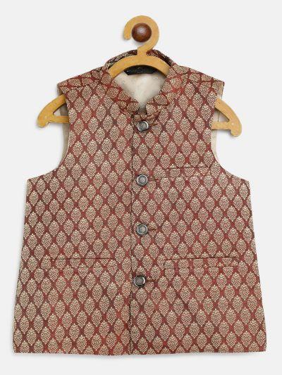 Sojanya (Since 1958), Kids Jacquard Silk Maroon Self design ONLY Nehrujacket