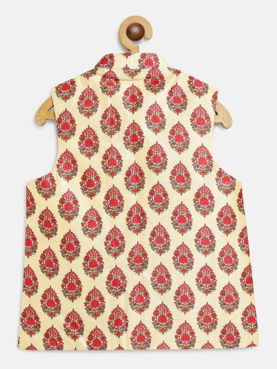 Sojanya (Since 1958), Kids Silk Blend Red Printed Nehru Jacket