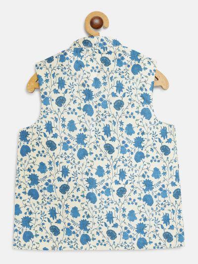 Sojanya (Since 1958), Kids Blue Printed Nehru Jacket