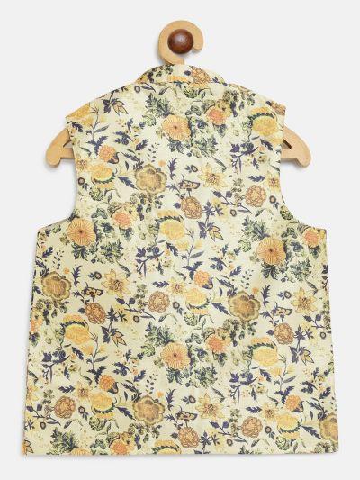 Sojanya (Since 1958), Kids Silk Blend LimeGreen Printed Nehru Jacket