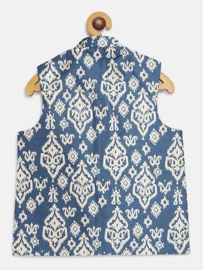 Sojanya (Since 1958), Kids Silk Blend Blue Printed Nehru Jacket