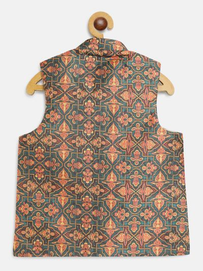 Sojanya (Since 1958), Kids Silk Blend Multi Printed Nehru Jacket