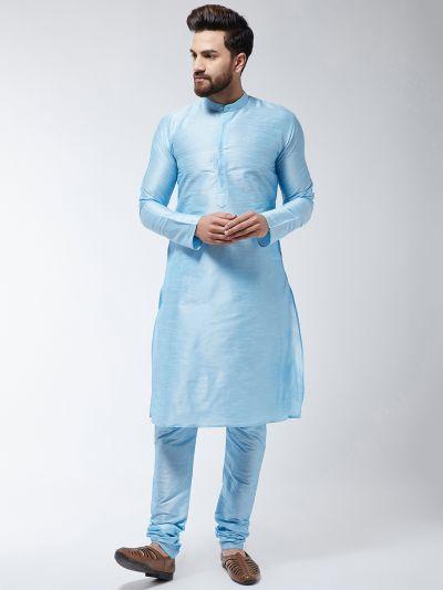 Sojanya (Since 1958), Men's Silk Blend Sky Blue ONLY Long Kurta