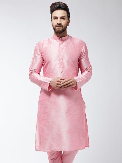 Sojanya (Since 1958), Men's Silk Blend Pink ONLY Long Kurta