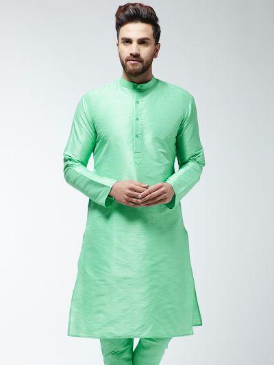 Sojanya (Since 1958), Men's Silk Blend Lime Green ONLY Long Kurta