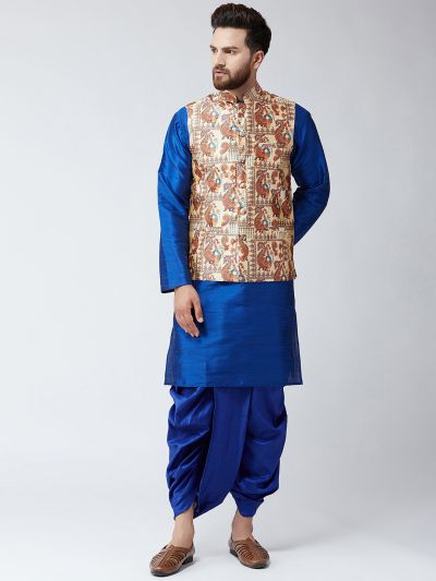 Sojanya (Since 1958), Dupion Silk Blue Kurta Dhoti and Multi Print Nehru jacket set