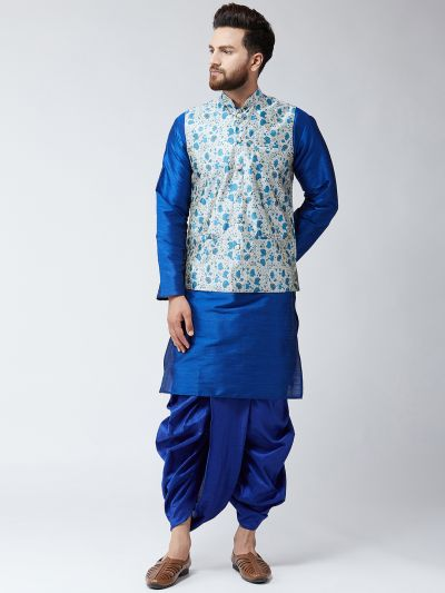 Sojanya (Since 1958), Dupion Silk Blue Kurta Dhoti and Blue Print Nehru jacket set