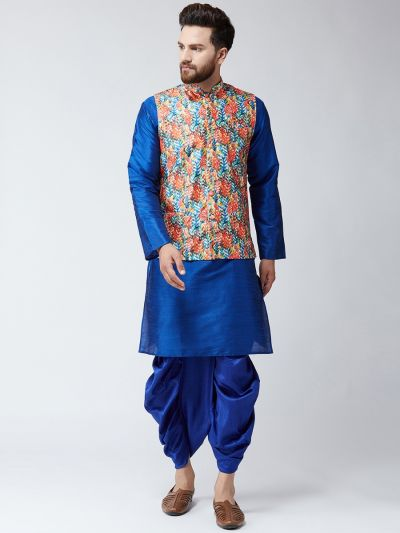 Sojanya (Since 1958), Dupion Silk Blue Kurta Dhoti and Multi PrintedNehru jacket set