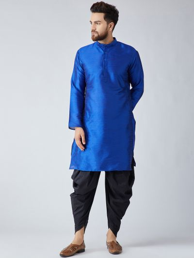 Sojanya (Since 1958), Men's Royal Blue Silk Kurta and Black Harem Pant set