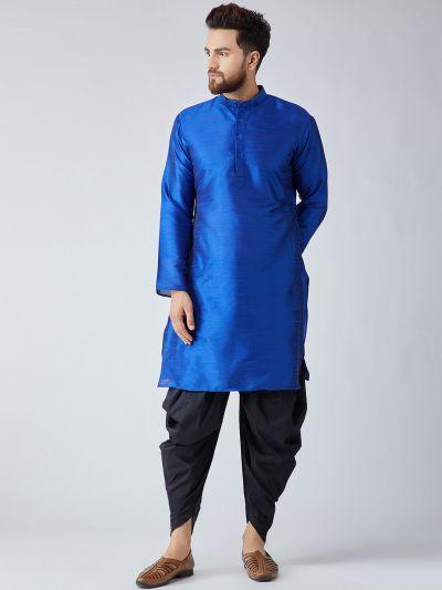Sojanya (Since 1958), Men's Royal Blue Silk Kurta and Black Harem Pant set