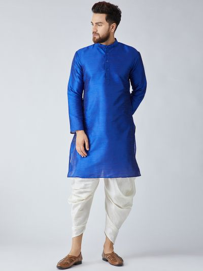 Sojanya (Since 1958), Men's Royal Blue Silk Kurta and Off-White Harem Pant set