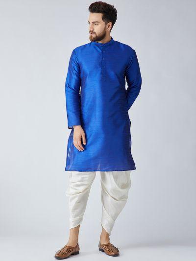 Sojanya (Since 1958), Men's Royal Blue Silk Kurta and Off-White Harem Pant set