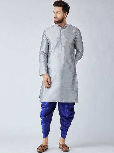 Sojanya (Since 1958), Men's Grey Silk Kurta and Blue Harem Pant set