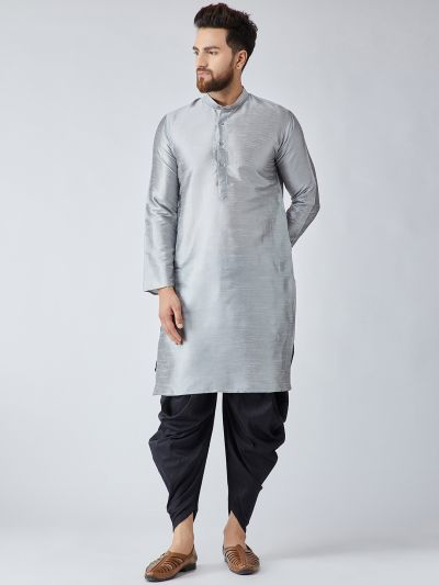 Sojanya (Since 1958), Men's Grey Silk Kurta and Black Harem Pant set