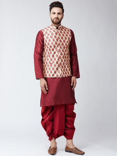 Sojanya (Since 1958), Dupion Silk Maroon Kurta Dhoti and Print Beige Nehru jacket set
