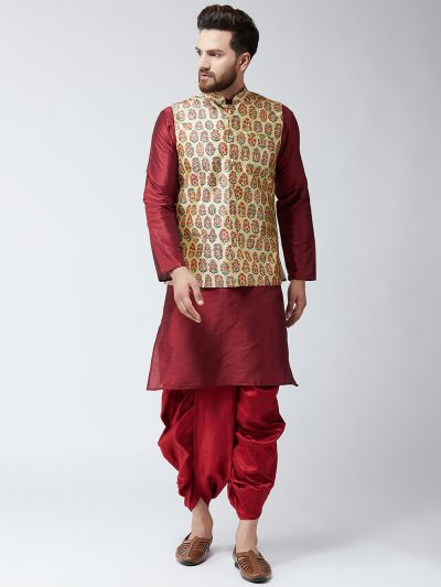 Sojanya (Since 1958), Dupion Silk Maroon Kurta Dhoti and  Multi colour Print Nehru jacket set