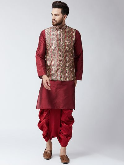 Sojanya (Since 1958), Dupion Silk Maroon Kurta Dhoti and Print multi colour  Nehru jacket set