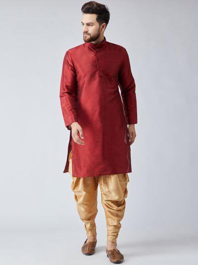 Sojanya (Since 1958), Men's Maroon Silk Kurta and Gold Harem Pant set-11