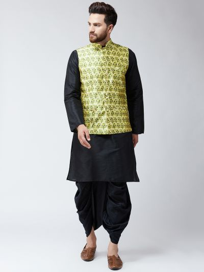 Sojanya (Since 1958), Dupion Silk Black Kurta Dhoti and Lime Green  Print Nehru jacket set