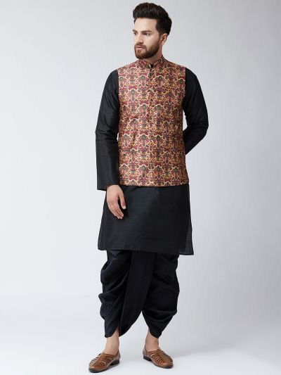 Sojanya (Since 1958), Dupion Silk Black Kurta Dhoti and Maroon Print Nehru jacket set