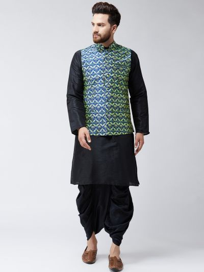 Sojanya (Since 1958), Dupion Silk Black Kurta Dhoti and Blue Printed Nehru jacket set