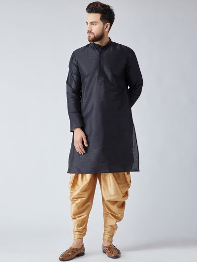 Sojanya (Since 1958), Men's Black Silk Kurta and Gold Harem Pant set-12