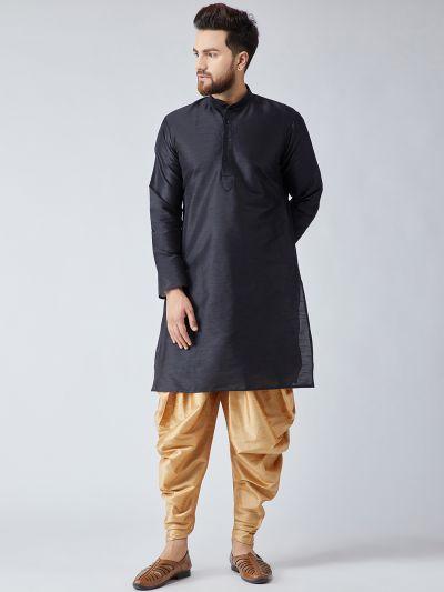 Sojanya (Since 1958), Men's Black Silk Kurta and Gold Harem Pant set-12