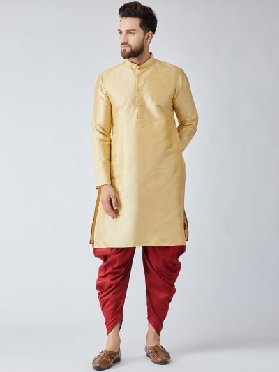 Sojanya (Since 1958), Men's Gold Silk Kurta and Maroon Harem Pant set-14