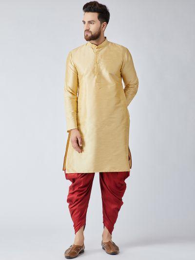 Sojanya (Since 1958), Men's Gold Silk Kurta and Maroon Harem Pant set-14