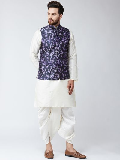 Sojanya (Since 1958), Dupion Silk white Kurta Dhoti and Blue Print Nehru jacket set