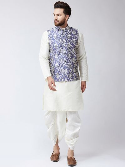 Sojanya (Since 1958), Dupion Silk white Kurta Dhoti and Blue Printed Nehru jacket set