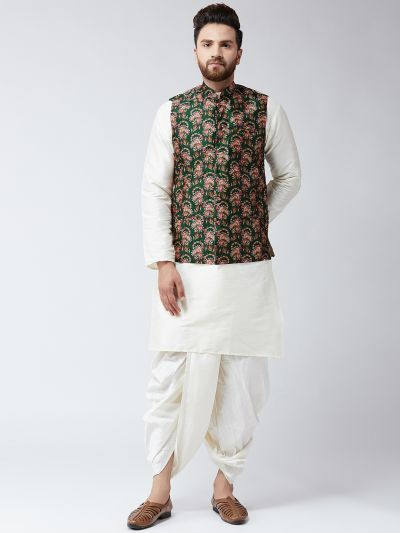 Sojanya (Since 1958), Dupion Silk white Kurta Dhoti and Green Print Nehru jacket set