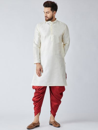Sojanya (Since 1958), Men's Off-White Silk Kurta and Maroon Harem Pant set