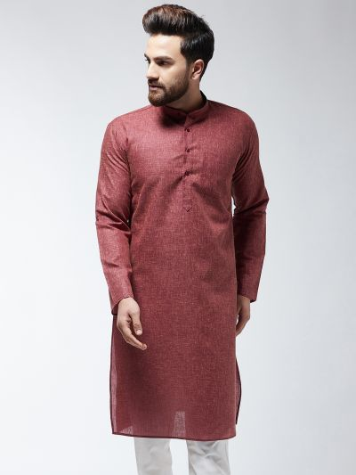 Sojanya (Since 1958), Men's Cotton Blend Dark Brown ONLY Long Kurta