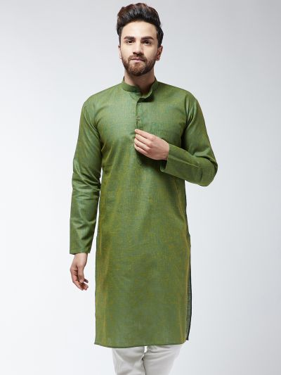 Sojanya (Since 1958), Men's Cotton Blend Moss Green ONLY Long Kurta