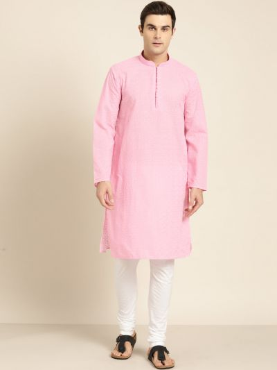 Sojanya (Since 1958), Men's Pure Cotton Pink Embroidered ONLY Kurta