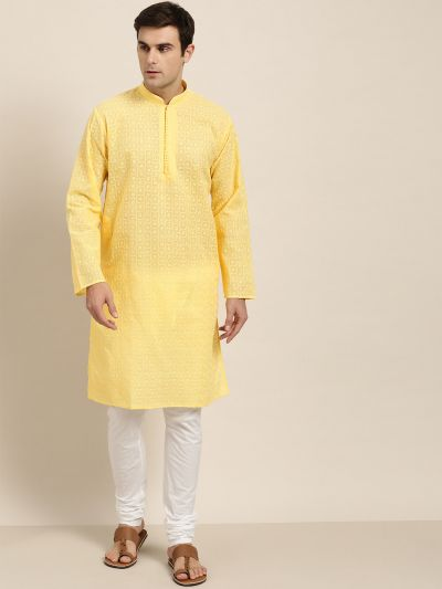 Sojanya (Since 1958), Men's Pure Cotton Yellow Embroidered ONLY Kurta