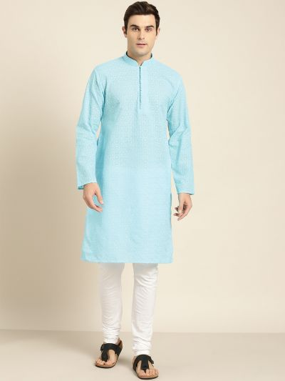 Sojanya (Since 1958), Men's Pure Cotton Sky Blue Embroidered ONLY Kurta