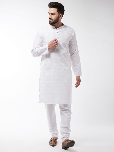 Sojanya (Since 1958), Men's Cotton Blend White Kurta & White Churidar Pyjama Set