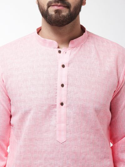 Sojanya (Since 1958), Men's Cotton Blend Pink Kurta & White Churidar Pyjama Set
