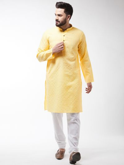 Sojanya (Since 1958), Men's Cotton Blend Yellow Kurta & White Churidar Pyjama Set