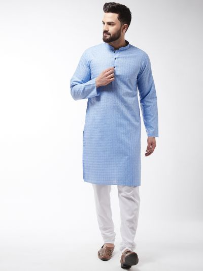 Sojanya (Since 1958), Men's Cotton Blend Blue Kurta & White Churidar Pyjama Set