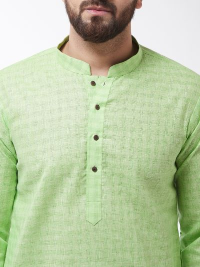 Sojanya (Since 1958), Men's Cotton Blend Green Kurta & White Churidar Pyjama Set