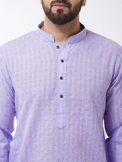 Sojanya (Since 1958), Men's Cotton Blend Purple Kurta & White Churidar Pyjama Set